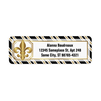 Golden Fleur-de-Lis on Black White Gold Stripes Return Address Label