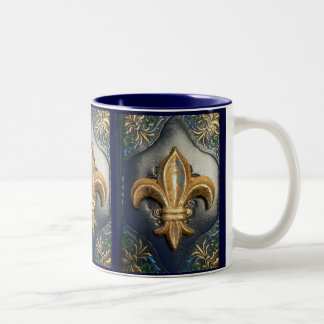 Golden Fleur de lis on blue print Mug