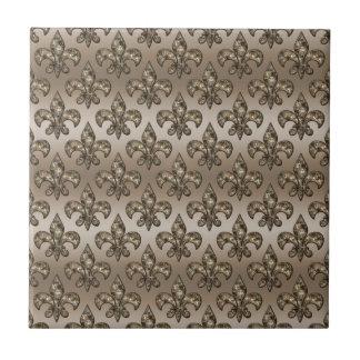 Golden Fleur-De-Lys Pattern Tile