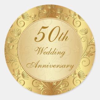 Golden floral 50th Wedding Anniversary Classic Round Sticker