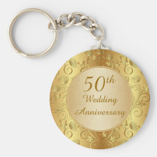 Golden floral 50th Wedding Anniversary Keychain