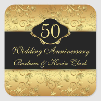 Golden floral 50th Wedding Anniversary Square Sticker