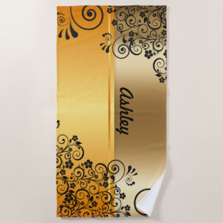 Golden floral beach towel