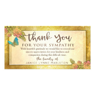 Golden Floral Butterfly Thank You Sympathy Card Photo Card