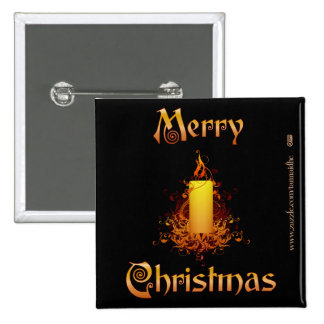 Golden Floral Candle - Merry Christmas 2 Inch Square Button