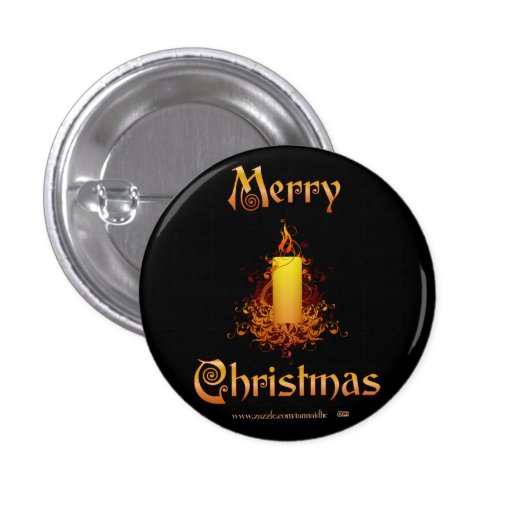 Golden Floral Candle - Merry Christmas Button