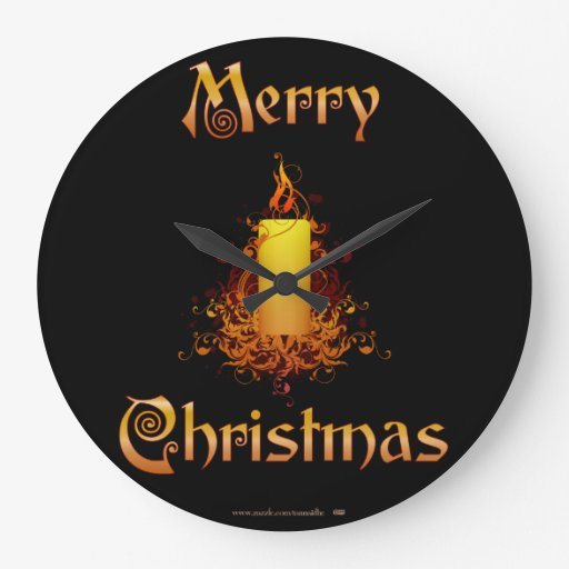 Golden Floral Candle - Merry Christmas Clock
