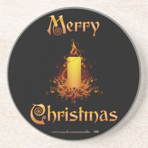 Golden Floral Candle - Merry Christmas Beverage Coaster