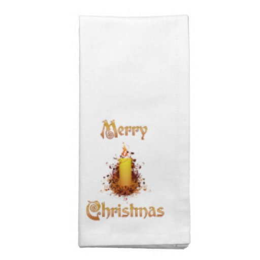Golden Floral Candle - Merry Christmas Napkins