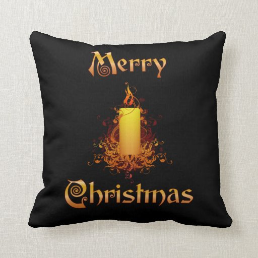 Golden Floral Candle - Merry Christmas Pillows