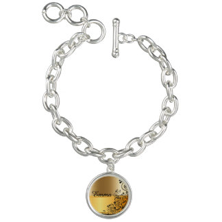 Golden floral charm bracelets