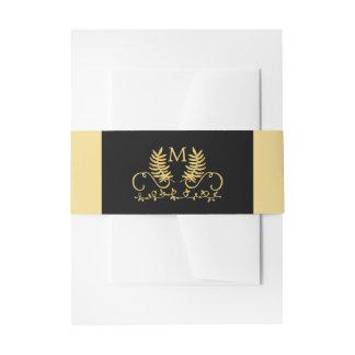 Golden Floral Emblem Wedding Invitation Belly Band