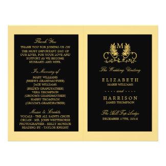 Golden Floral Emblem Wedding Program
