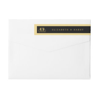 Golden Floral Emblem Wedding Wraparound Return Address Label