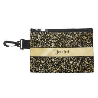 Golden Floral Flourishes & Swirls Black Accessory Bag
