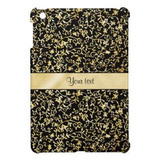 Golden Floral Flourishes & Swirls Black Case For The iPad Mini