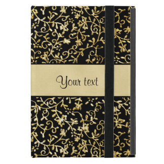 Golden Floral Flourishes & Swirls Black Cover For iPad Mini
