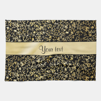 Golden Floral Flourishes & Swirls Black Hand Towel