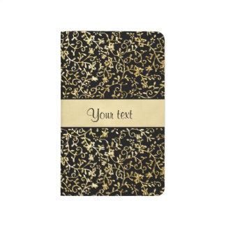 Golden Floral Flourishes & Swirls Black Journal