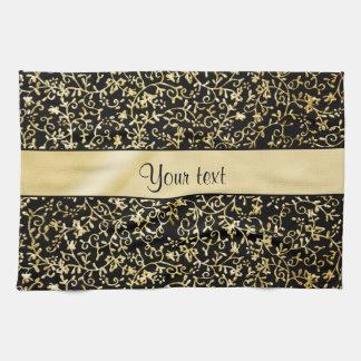 Golden Floral Flourishes & Swirls Black Kitchen Towel
