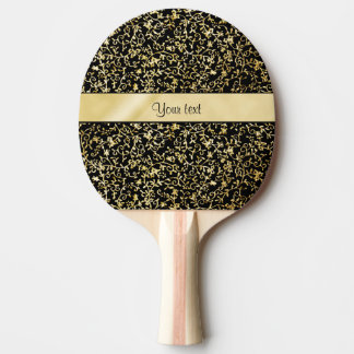 Golden Floral Flourishes & Swirls Black Ping Pong Paddle