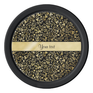 Golden Floral Flourishes & Swirls Black Poker Chips