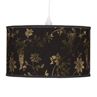 Golden floral hanging lamp