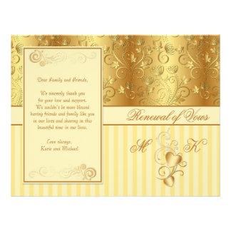 Golden floral, hearts Renewal of Vows program Flyer