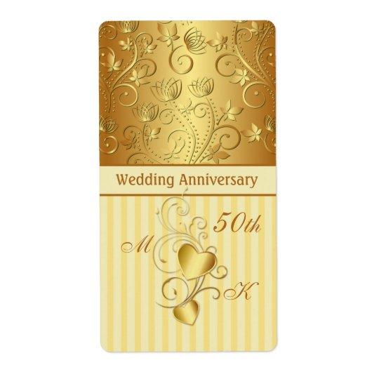 Golden floral, hearts Wedding Anniversary Wine