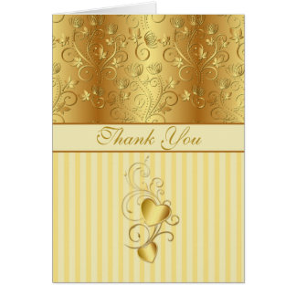 Golden floral, hearts Wedding Thank you Greeting Card