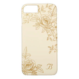 Golden Floral, Ivory Monogram iPhone 7 Case