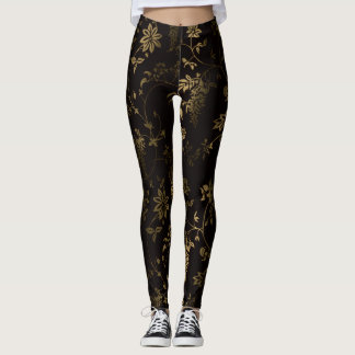 Golden floral leggings