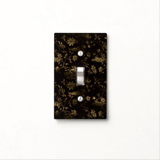 Golden floral light switch cover