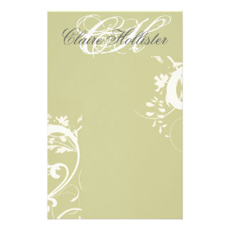 Golden Floral Monogrammed Swirls Feminine Stationery