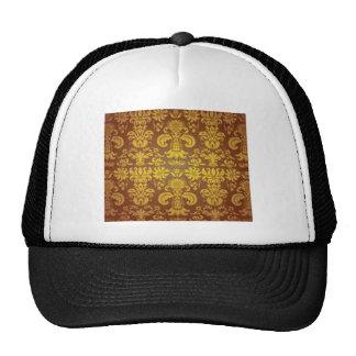 Golden floral pattern mesh hat