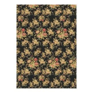 golden floral roses bouquet invitation cards
