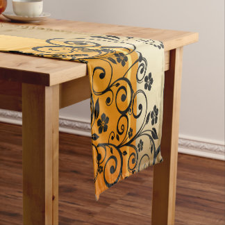 Golden floral short table runner