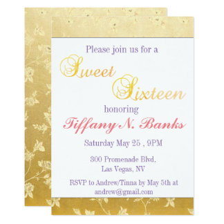 Golden Floral Sweet Sixteen Invitations