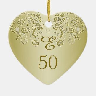 Golden floral swirls 50th Birthday heart Ornament