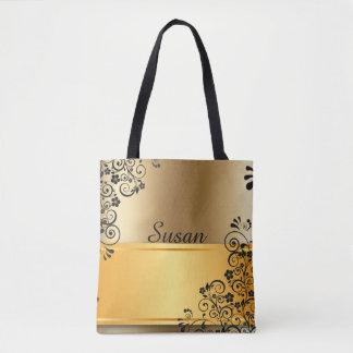 Golden floral tote bag