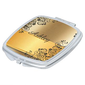 Golden floral vanity mirrors