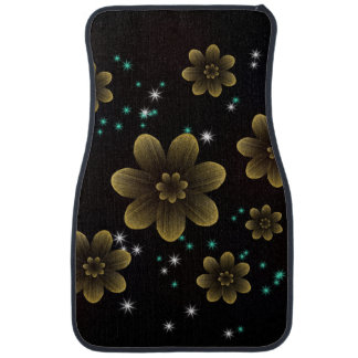 Golden Floral with Sparkles Car Mat