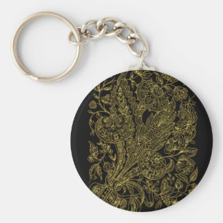 golden florals inlay style keychain