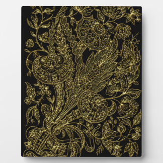 golden florals inlay style plaque