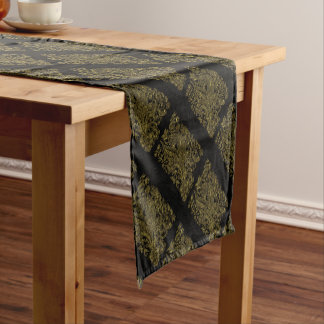 golden florals inlay style short table runner