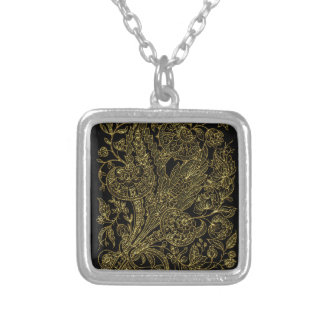 golden florals inlay style silver plated necklace
