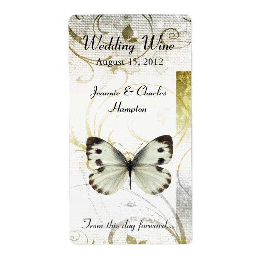 Golden Flourish & Butterfly Wedding Mini Wine