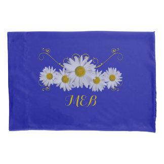 Golden Flourish White Daisy Monogram Pillowcase
