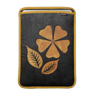 Golden Flower on Black Leather MacBook Sleeve