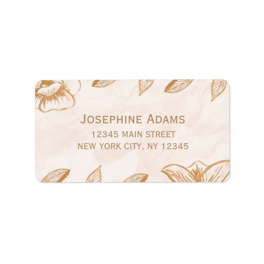 Golden Flowers Address Labels